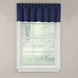 GPD Newport 60-inch x 12 inch Rod Pocket Valance Window Curtain, Navy