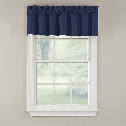GPD Newport 60 Inch X 12 Rod Pocket Valance Window Curtain Navy