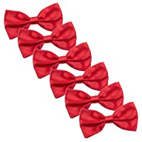 Men's Bow Tie for Wedding Party - 6 Pack of Solid Color Adjustable Pre Tied Bowties