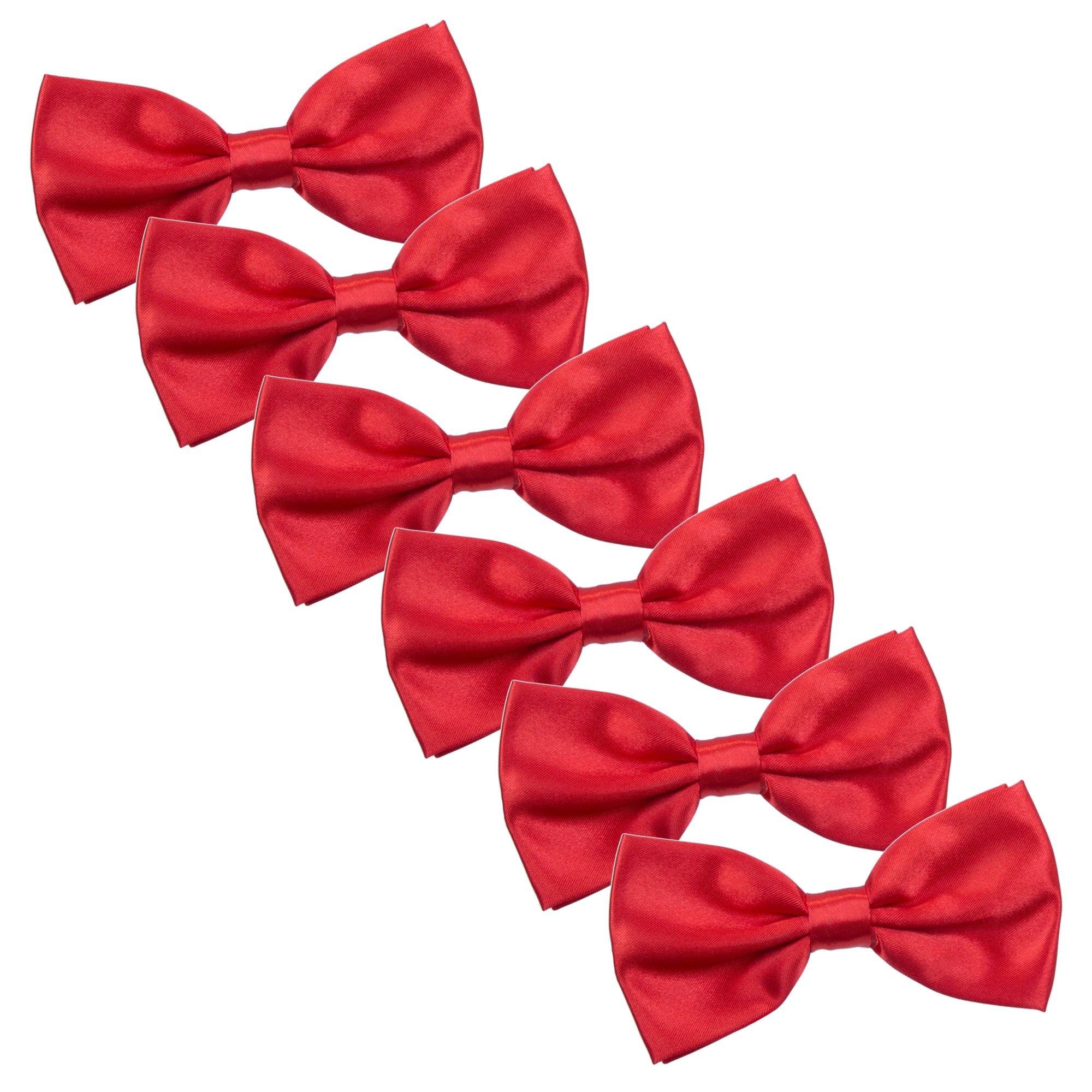 Men's Bow Tie for Wedding Party - 6 Pack of Solid Color Adjustable Pre Tied Bowties (Hot Red)