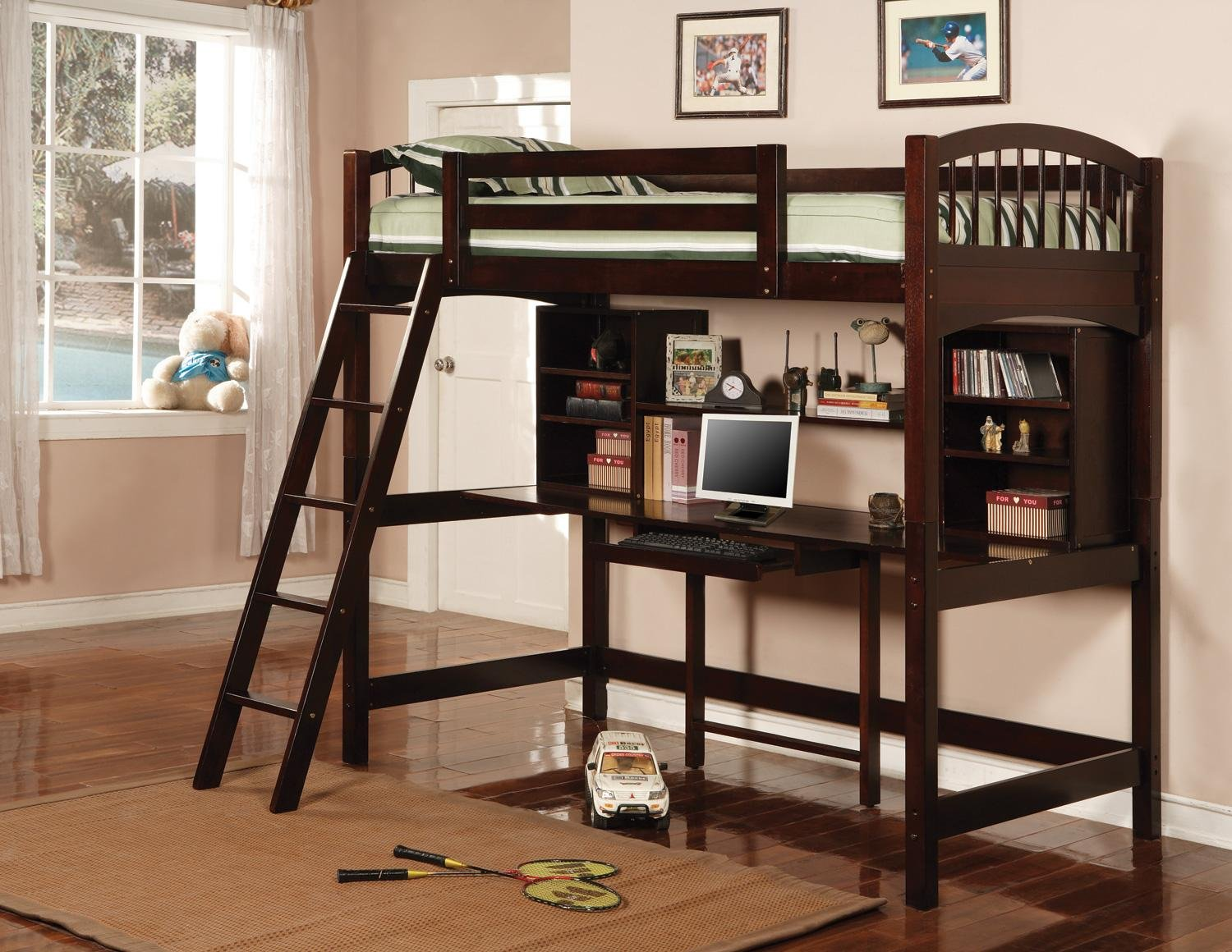 Amazon.com: Cappuccino Finish Workstation Bunkbed Bunk Bed PC Desk ...