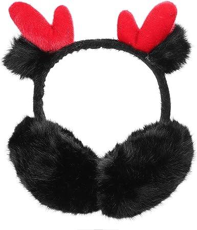 Long-horned Deer Animal Portrait Winter Earmuffs Ear Warmers Faux Fur Foldable Plush Outdoor Gift