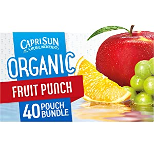 Capri Sun Organic Fruit Punch Ready-to-Drink Juice (40 Pouches, 4 Boxes of 10)