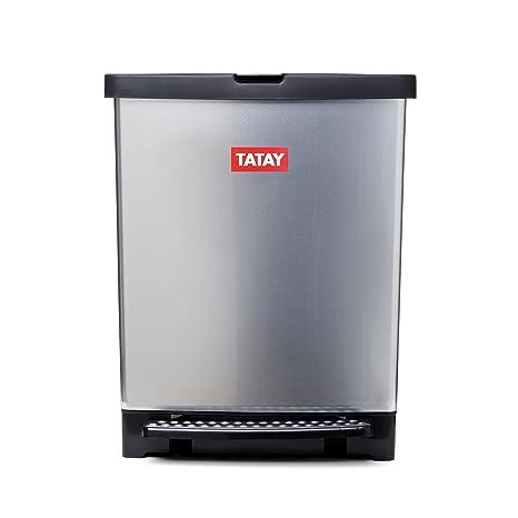 Tatay 1020100 Trend-Cubo de Basura para Cocina Fabricado en PP Metalizado con 25 litros