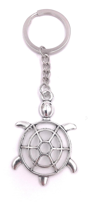 H-Customs Tortuga llana tortuga llavero colgante de plata ...
