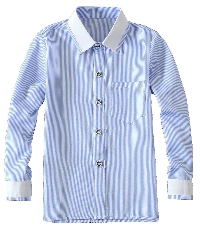 Yuanlu Boys Long Sleeve Blue Striped Shirt Blue-Long-Shirt