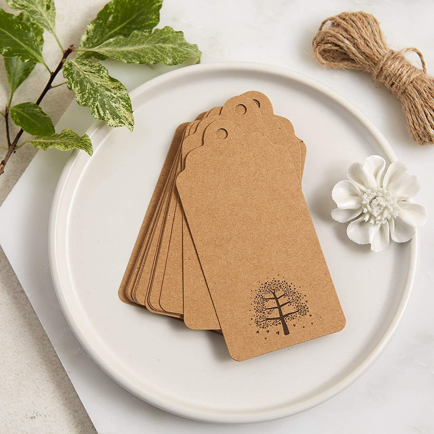 ANGEL & DOVE 25 Kraft Memory Tree Message Tags - Perfect for Funeral, Celebration of Life, Wake, Memorial, Remembrance Condolence