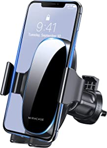 [2021 Upgraded-2nd Generation] Miracase Universal Phone Holder for Car, Air Vent Car Phone Holder Mount Compatible with iPhone 12 Pro Max/11 Pro Max/SE/XR/XS/8 Plus and All Phones,Black