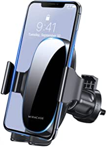 [2020 Upgraded-2nd Generation] Miracase Universal Phone Holder for Car, Air Vent Car Phone Holder Mount Compatible with iPhone 12 Pro Max/11 Pro Max/SE/XR/XS/8 Plus and All Phones,Black