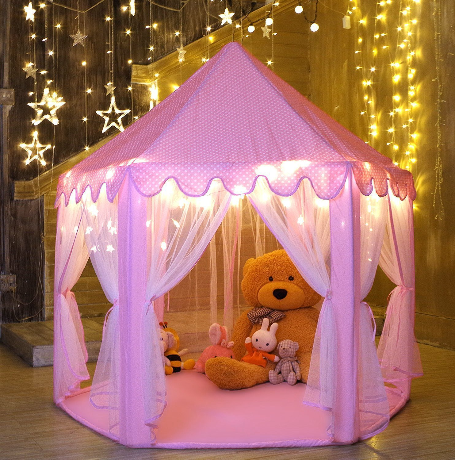 """Ejoyous Gift for Girls Age 5/6/7/8/9, Play Tent for Girls, Playhouse for Kid, Princess Castle Game for Indoor Outdoor with Star LED Lights, Large, Pink, 40""""40"""""""
