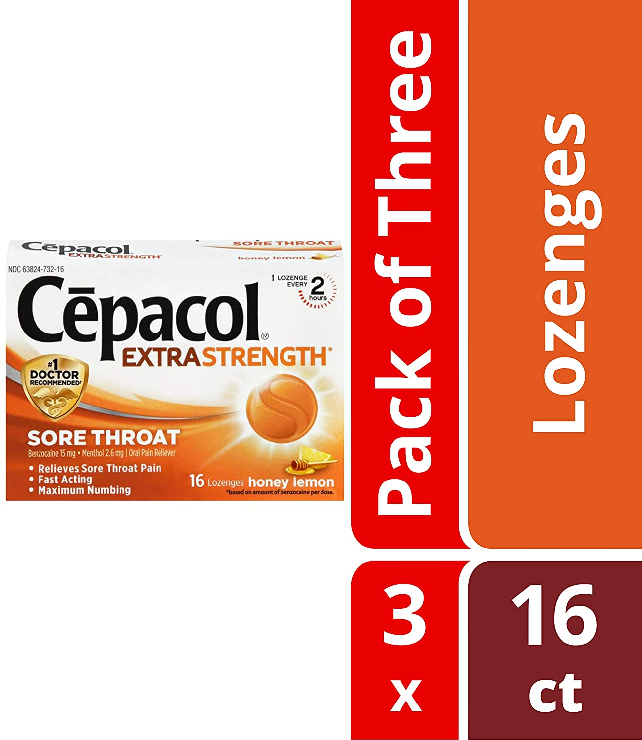 Cepacol Extra Strength Sore Throat Relief Lozenges, Honey Lemon Cough  Drops, Maximum Numbing- Fast