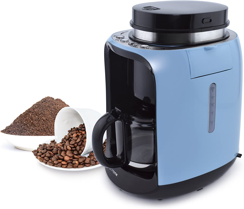 EcHome - Máquina para hacer café, 2 en 1, con jarra de cristal aislado, 0,6 L, 6 tazas, color azul: Amazon.es: Hogar