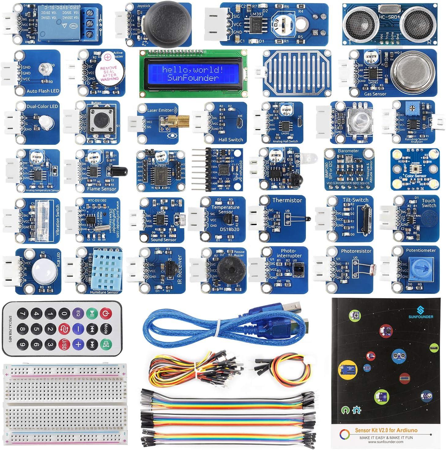 SunFounder Complete Sensor Kit for Arduino R3 Mega2560 Mega328 Nano, 36 Tutorials Included