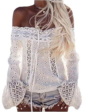 Damen Bluse LOBTY Sommer T-shirt Oberteile Tops Tunika Spitze Elegant Lace  Chiffon Trompetenärmel mit 9475d08ea4