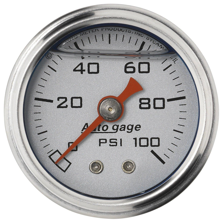 Auto Meter 2180 Auto Gage Silver 1-1/2' 0-100 PSI Mechanical Fuel Pressure Gauge