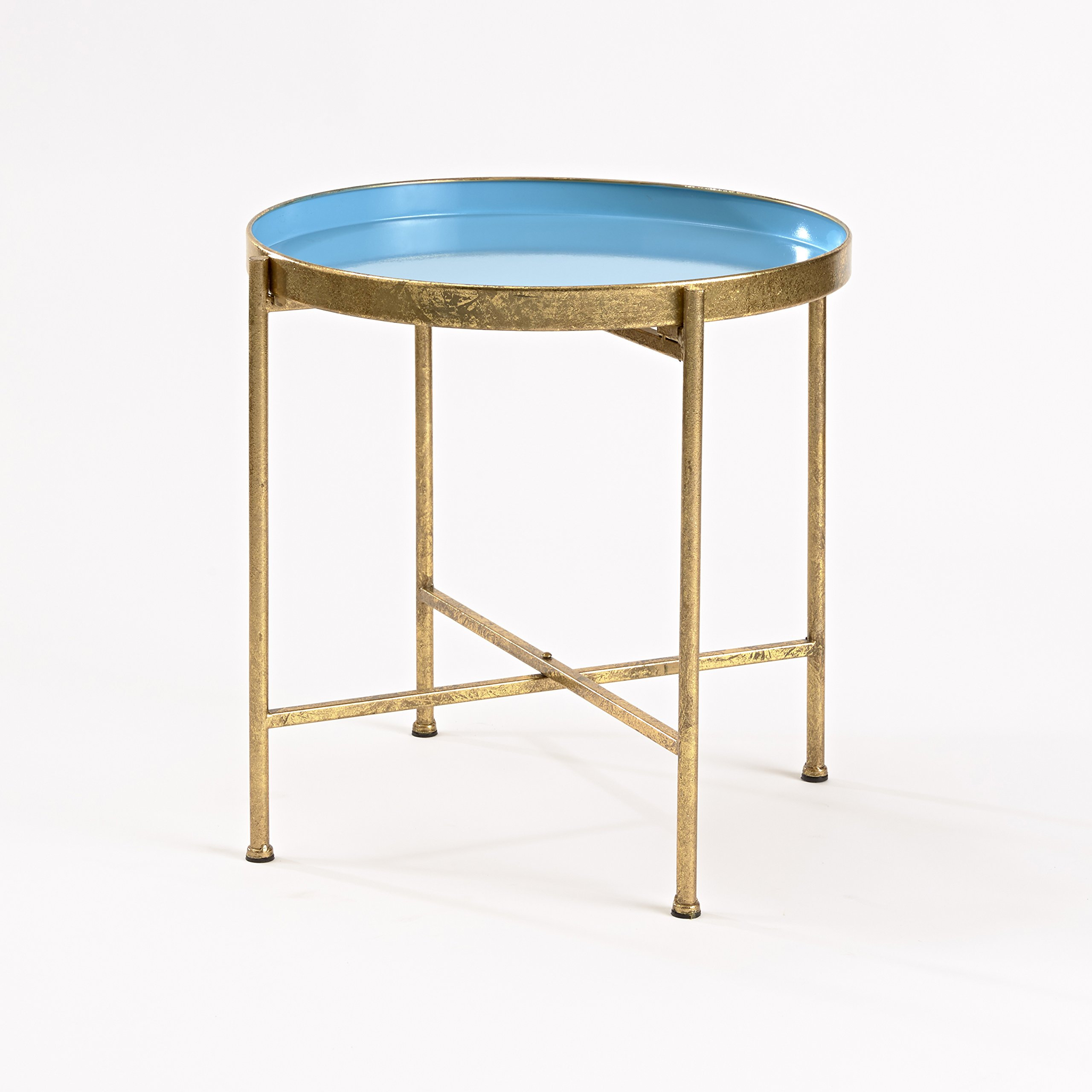 InnerSpace Luxury Products Gild Pop Up Tray Table, Large, Blue