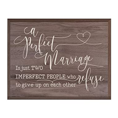 LifeSong Milestones A Perfect Marriage Family Wedding Anniversary Housewarming Gift for Husband Wife Parents, New Home Christian Gift Ideas 12 Inches w X 15 Inches (Salt Oak)