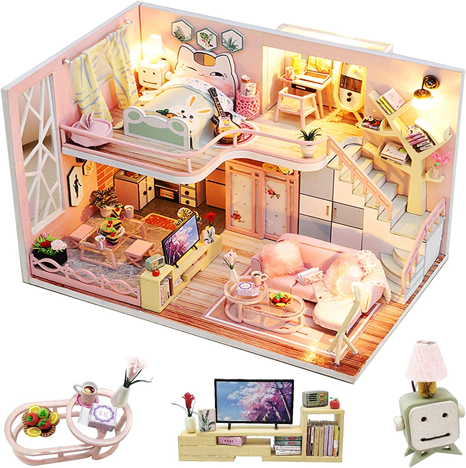 Spilay DIY Miniature Dollhouse Wooden Furniture Kit,Handmade Mini Modern Model Plus with Dust Cover & Music Box ,1:24 Scale Creative Doll House Toys for Adult Teenager Idea Gift