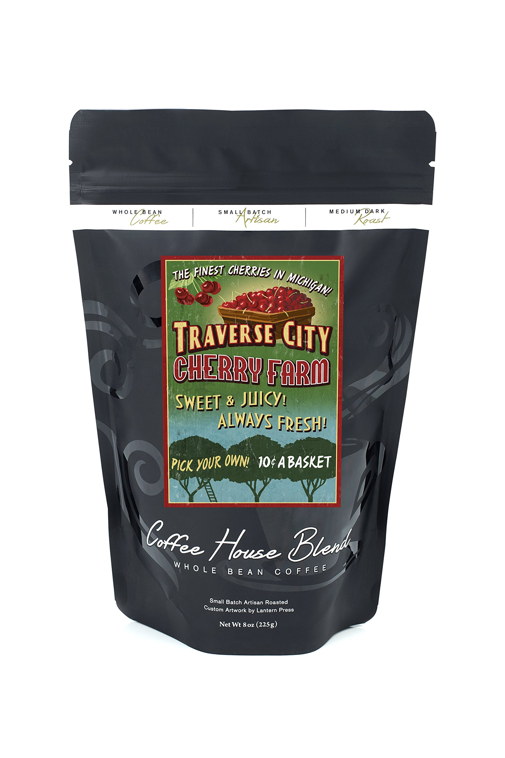 Traverse City, Michigan - Cherry Farm Vintage Sign (8oz Whole Bean Small Batch Artisan Coffee - Bold & Strong Medium Dark Roast w/ Artwork)