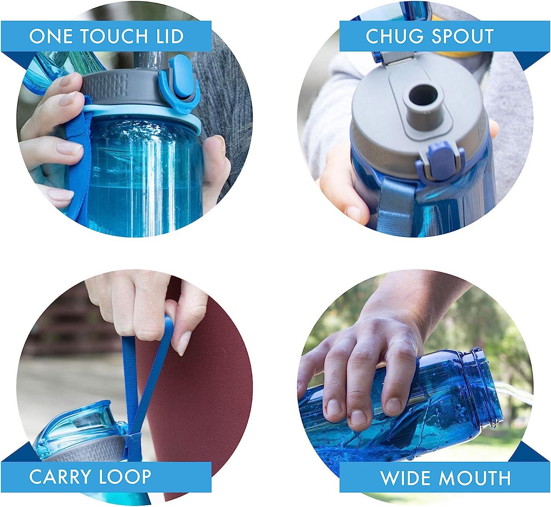 MIRA Reusable Tritan Water Bottle Leak Proof Locking Flip Top Lid with Easy Flow Spout BPA-Free Plastic Sports Water Bottle