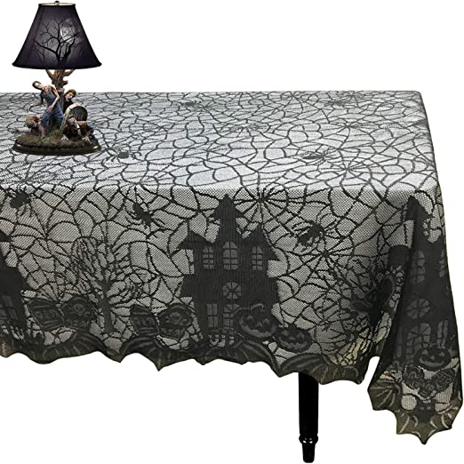 Gothic Black Lace Spideweb Door Curtain Table Cloth Halloween Party Door Decor