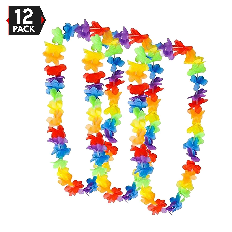 Amazon 36 Hawaiian Rainbow Flower Leis Party Favor Pack Of 12