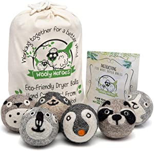 Wooly Heroes Wool Dryer Balls - Organic Eco Friendly - 6-Pack XL