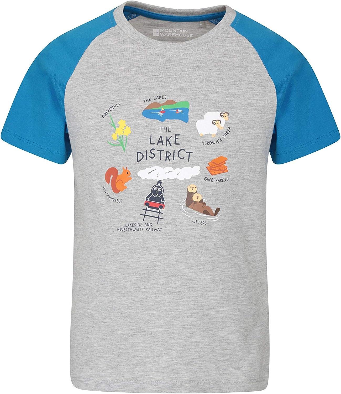 Mountain Warehouse Camiseta Lake Distict para niños - Ligera, Transpirable, fácil de cuidar, con Estampado Caminar, Viajar y para Exteriores: Amazon.es: Ropa y accesorios