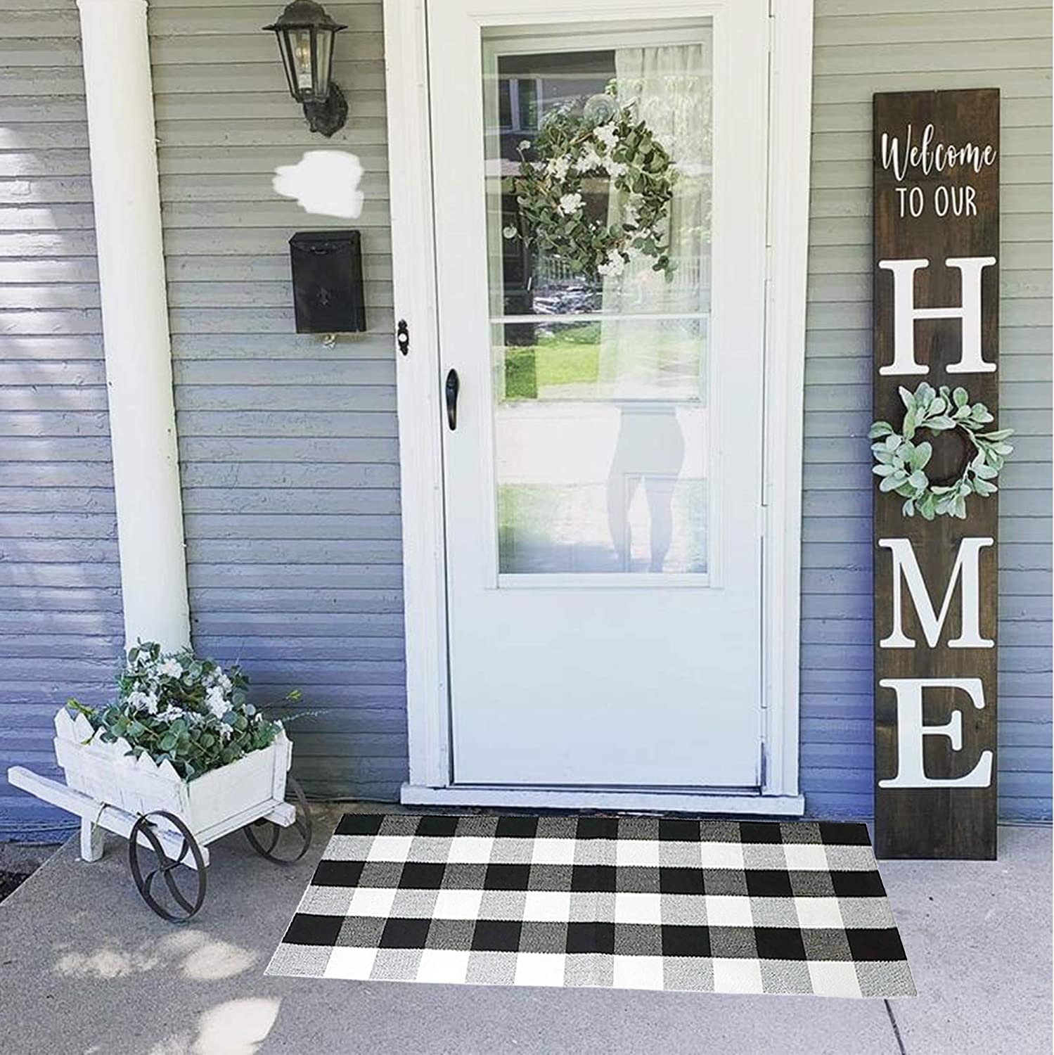 Black and White Buffalo Plaid Rug - 23.6''x51.2''Anti-Slip Mat, Outdoor/Indoor Front Porch Check Doormat, Welcome Carpet Cotton Checkered Door Mat, Kitchen Farmhouse Entryway Washable Décor