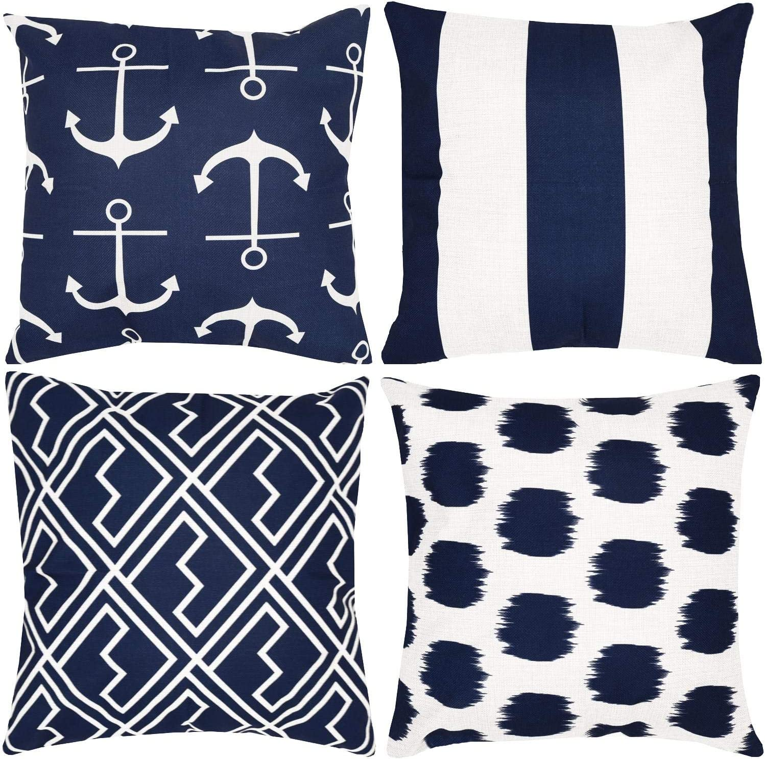 Munzong Set of 4 Nautical Navy Blue and White Anchor Throw Pillows