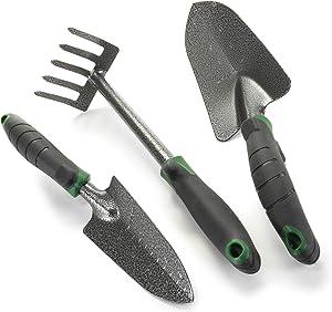 Edward Tools Garden Tool Set - Heavy Duty Carbon Steel Trowel, Transplanter, Hand Rake - 3 Piece Garden Tool Set with Bend-Proof Design - Ergo Rubber Grip Handles