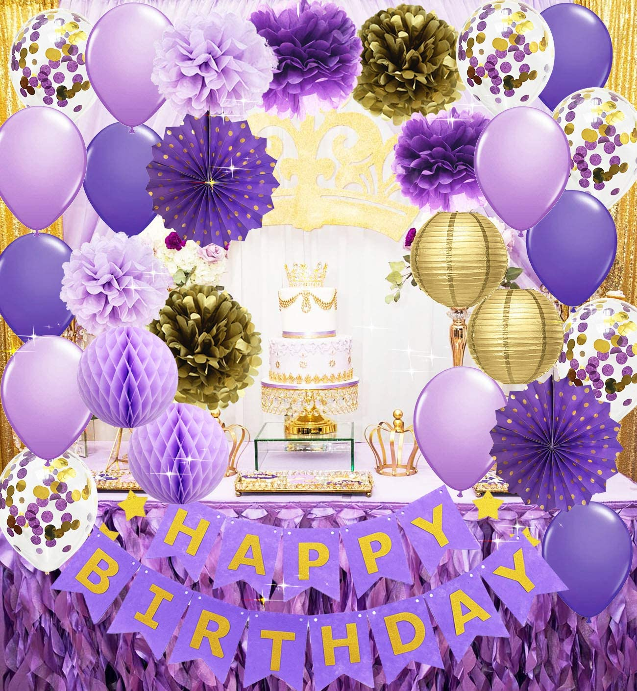 Purple Gold Birthday Party Decorations Happy Birthday Banner Purple Gold Confetti Balloons Polka Dot Paper Fans for Women/Girl Purple Birthday Decorations Purple Gold Birthday Photo Backdrop