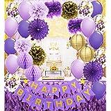 Decoración de cumpleaños de color morado y dorado para su feliz cumpleaños, pancarta de confeti, globos de papel con lunares