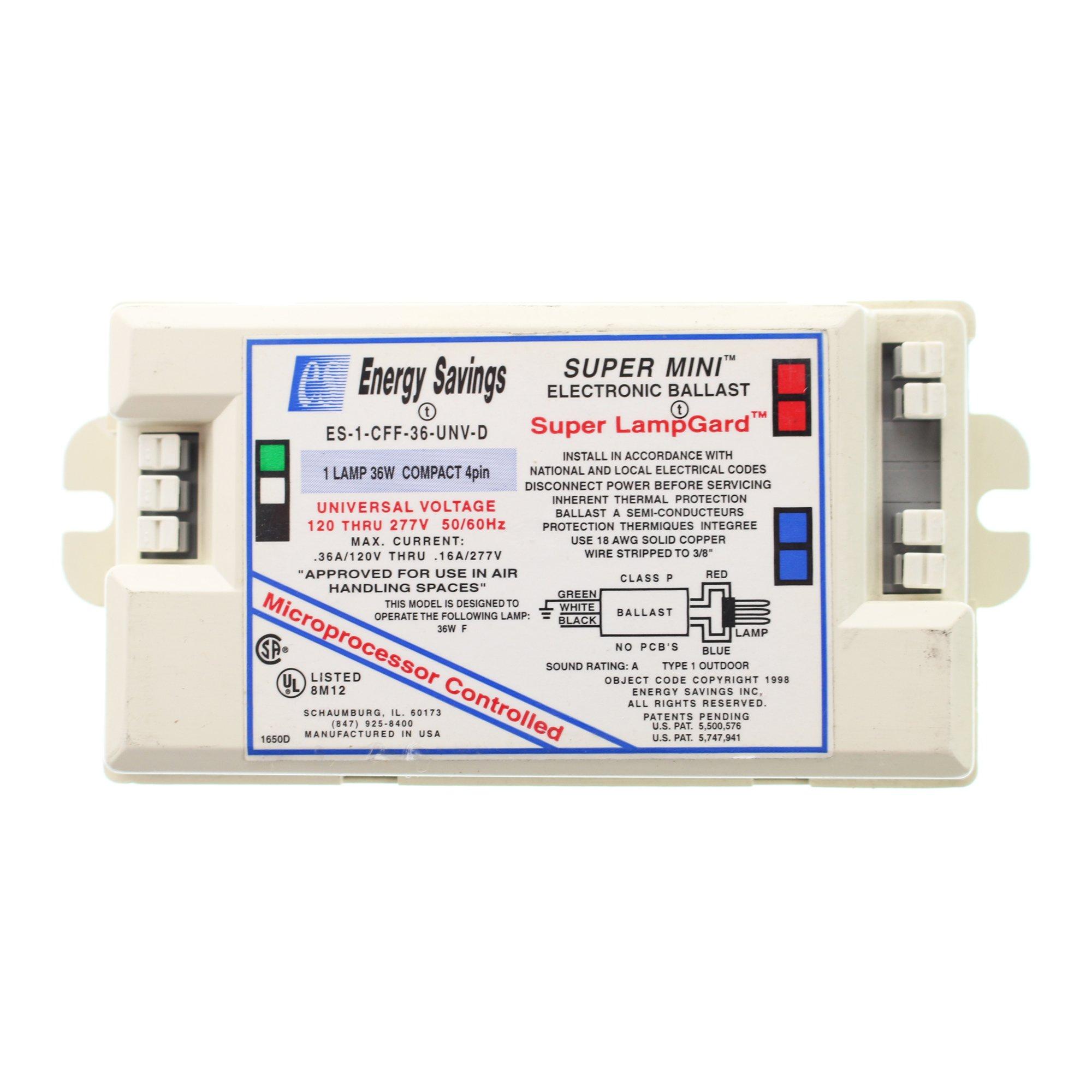 Energy Savings Es-1-CFF-36-UNV-D Electronic CFL Ballast, (1) 36W 4-Pin, 120/277V
