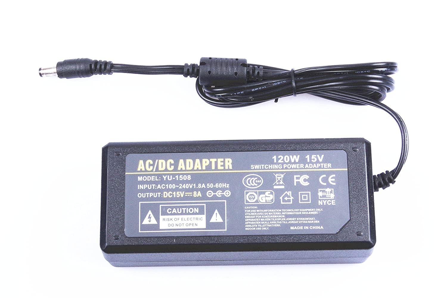 Knacro Ac 100 240v To Dc 15v 8a 120w Power Supply Powered Led Circuit Flood Lights Enkonn Technology Co Ltd Adapter Transformers Interface 55x25mm Suitable For Routers Switches Control Systems