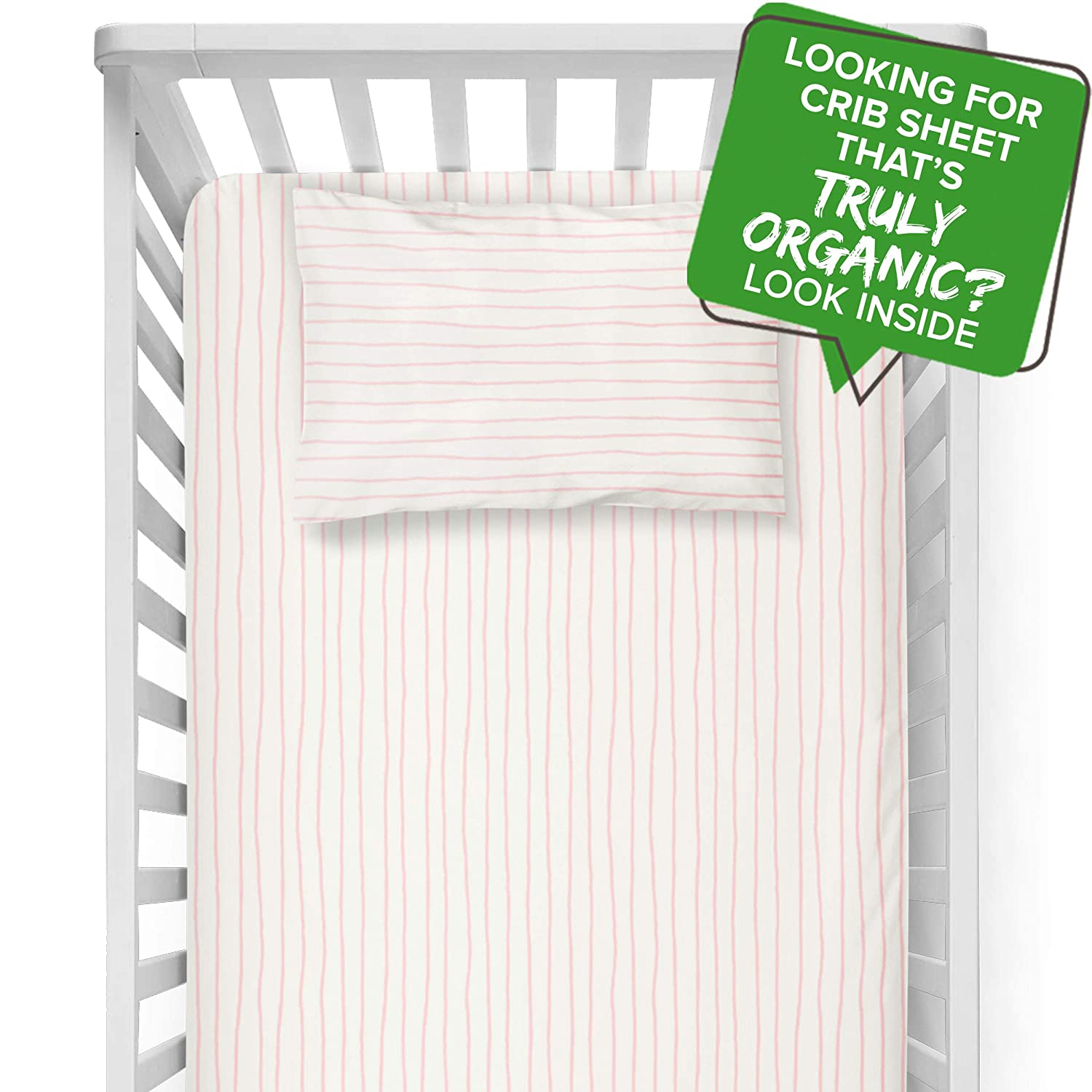 Organic Crib Sheet Fitted GOTS Certified Organic Cotton Crib Fitted Sheet with Pillowcase Super Soft Breathable Non Toxic Hypoallergenic Baby Toddler Girl Bed Fitted Crib Sheet (Pink, Stripes)