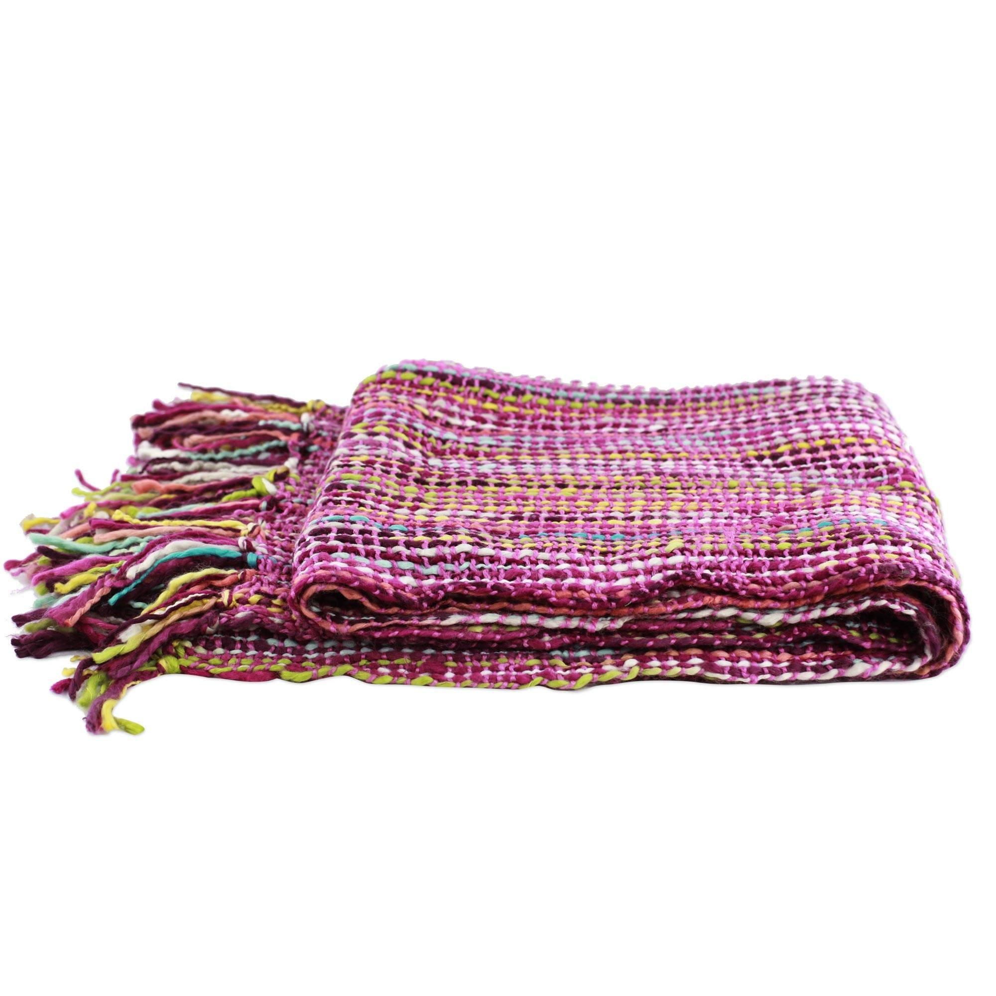 NOVICA PT063 Bright Purple Colorful Rainbow Woven Sofa Throw Blanket 'Joyous Amethyst', Pink Multicolor