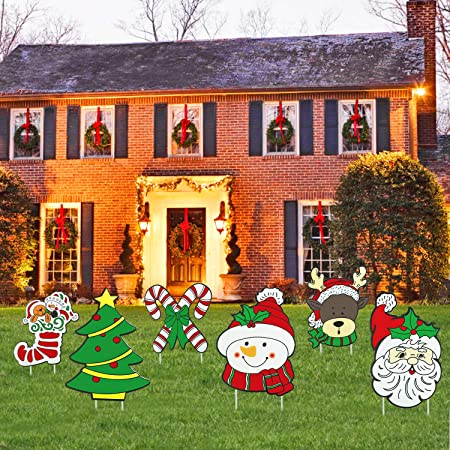 Amazon.com: Mosoan - Juego de 6 carteles de Navidad para ...