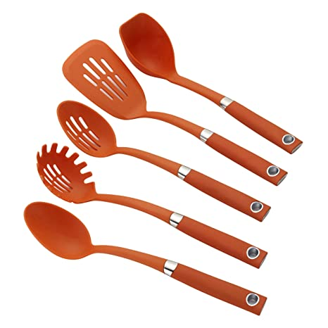 Rachael Ray Tools & Gadgets 5-Piece Nylon Tool Set, Orange