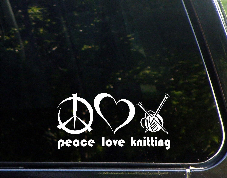 Amazon com peace love knitting 7 x 3 1 2 vinyl die cut decal bumper sticker for windows cars trucks laptops etc automotive