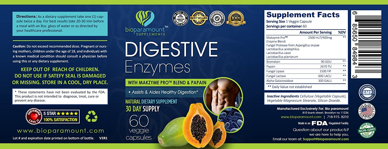 Amazon.com: Bio Paramount 100% natural Digestivo Enzimas ...