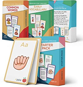 American Sign Language Flash Cards - 180 Cards to Teach Your Baby, Toddler or Kid ASL