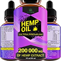 Everhemp - Hemp Oil Drops 200 000 MG - Effective Pain Reliever - Made in USA - Zero CBD, Zero THC (1oz/30lm)