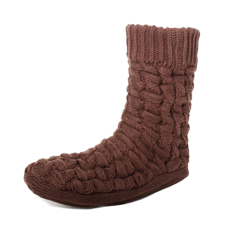 Noble Mount Men's Thick Basket Weave No-Skid Slipper Socks