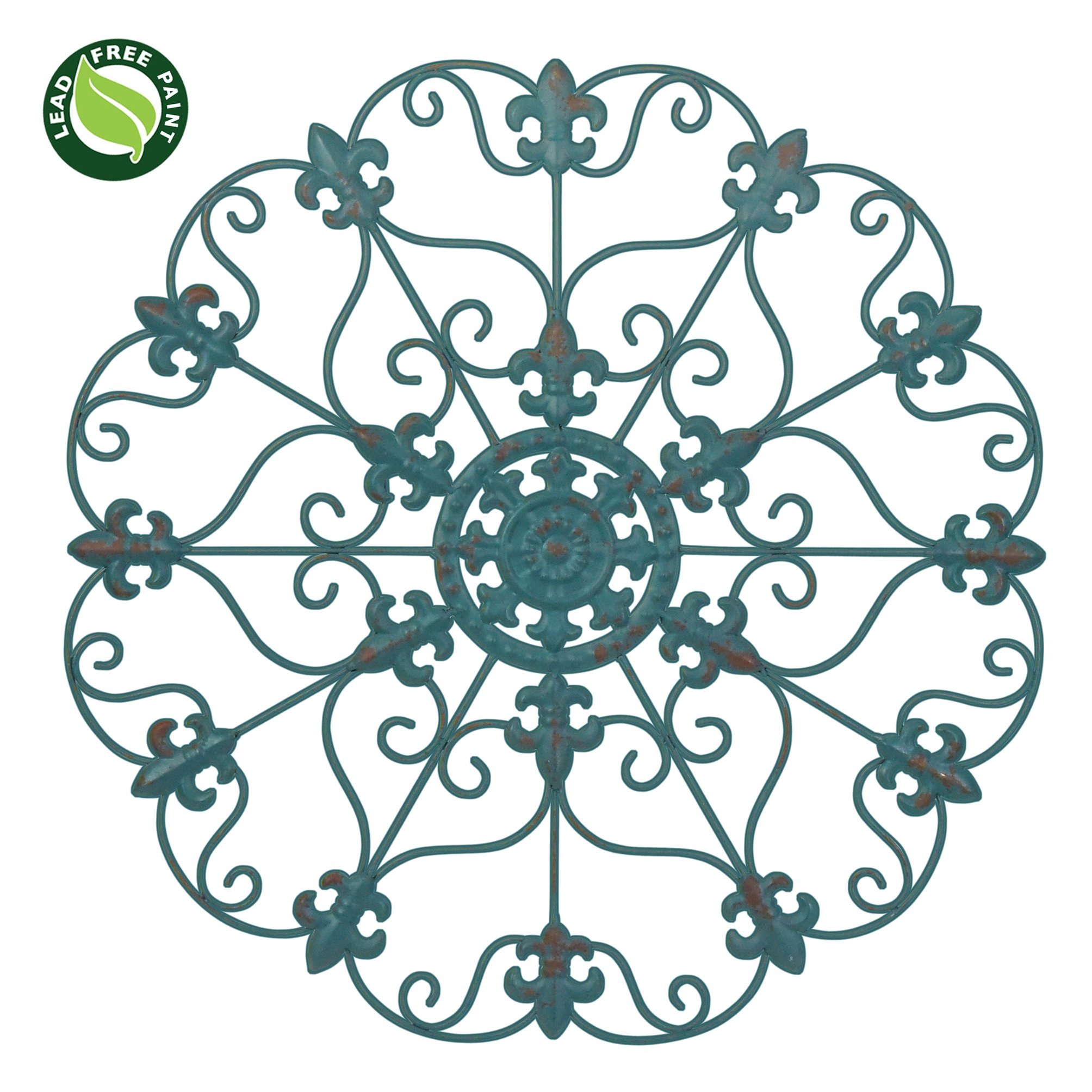 NEW! 24'' Hand Made Iron Wall Medallion, Home, Room Decoration, Home Decor 100% Lead Free Paint, Teal Color by BindMaster