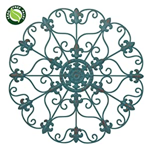 "NEW! 24"" Hand Made Iron Wall Medallion, Home, Room Decoration, Home Decor 100% Lead Free Paint, Teal Color"