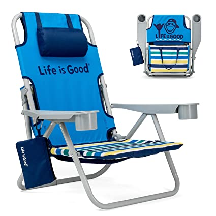 Enjoyable Life Is Good Beach Chair With Cooler Backpack Straps Storage Pouch And Cup Holder Jake Blue Download Free Architecture Designs Scobabritishbridgeorg