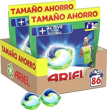 TALLA 86 Lavados. Ariel Pods Detergente Lavadora Cápsulas, 86 Lavados (Pack 2 x 43), Active Odor Defense
