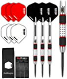 Red Dragon Evos: Tungsten Steel Darts Set mit Winmau Rhino Flights, Schäfte, Brieftasche Checkout Card