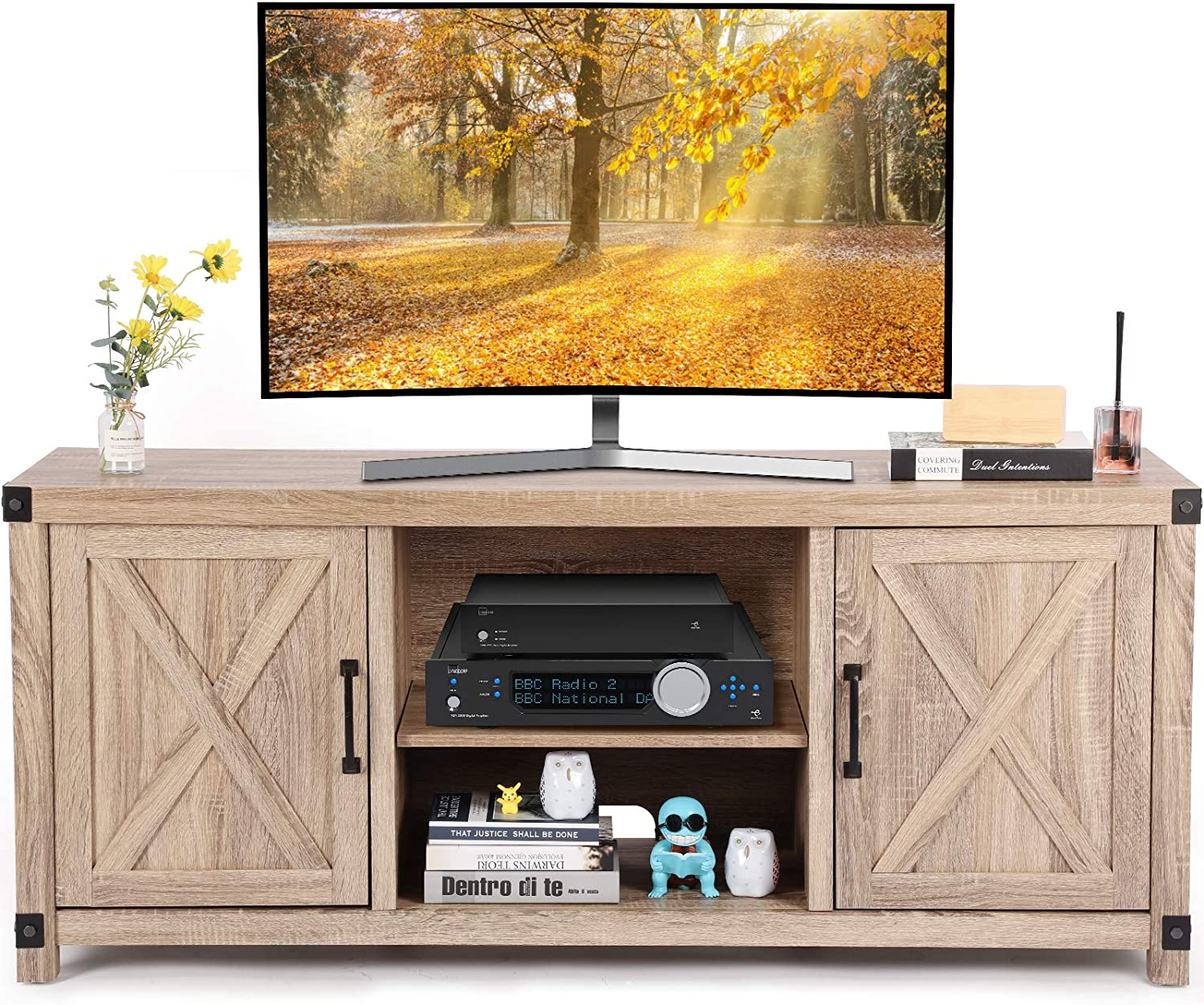 TV Console Cabinet for TVs up to 65 Inch W/Media Shelves, Farmhouse TV Stand Style Entertainment Center for Soundbar or Other Media, Barn Door TV Stand with Storage for Living Room, APRTS02L